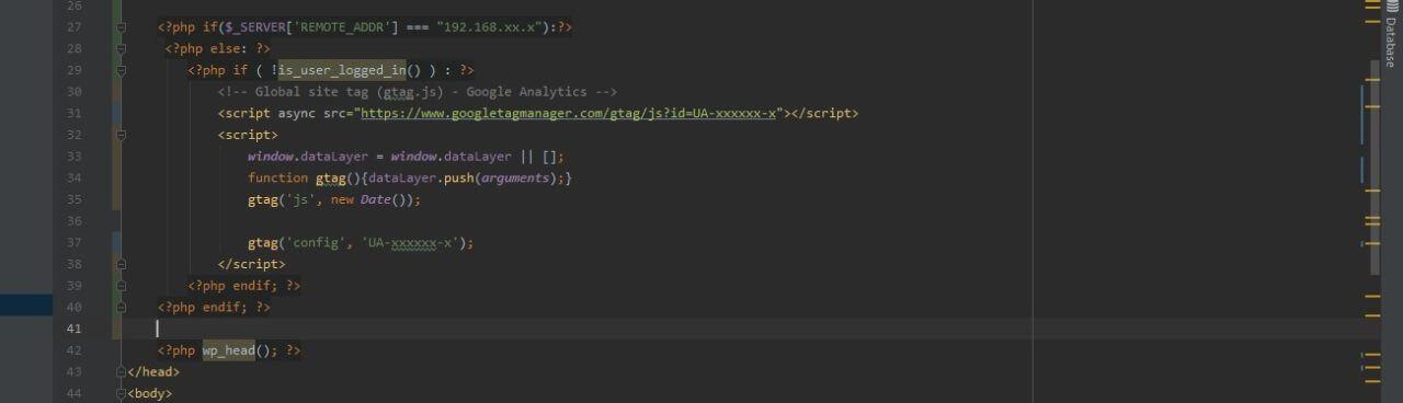 Wordpressに自分と開発環境を除外したコード