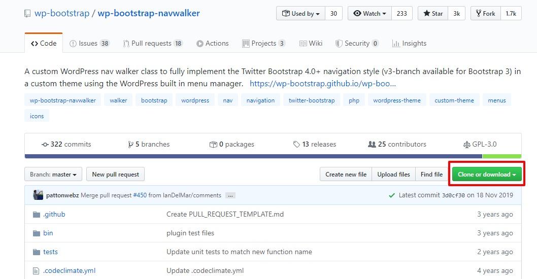 Github から wp-bootstrap-navwalker をダウンロードします
