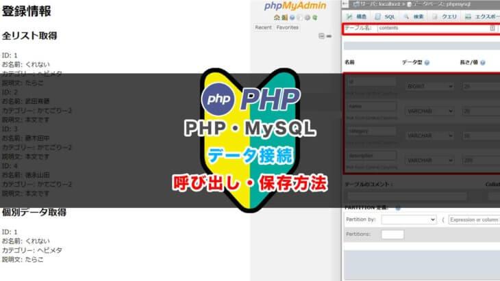 PHPにMySQLを接続してデータベース保存からのデータ取得まで