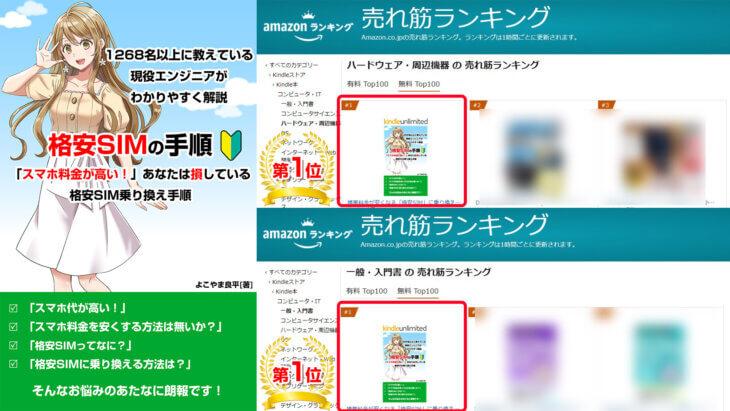 格安SIMの選び方書籍ランキングで2カテゴリー 1位を獲得